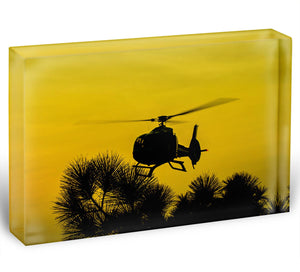 Patrol Helicopter flying in the sky Acrylic Block - Canvas Art Rocks - 1