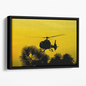 Patrol Helicopter flying in the sky Floating Framed Canvas