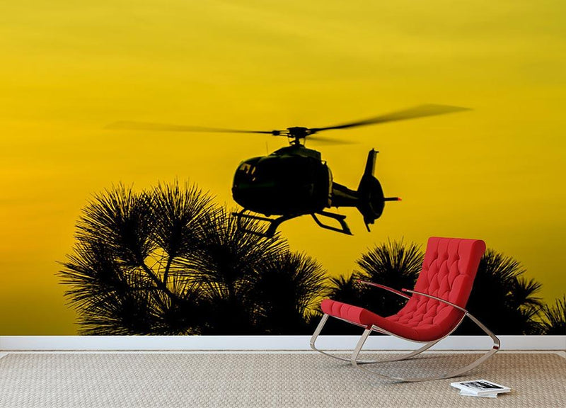 Patrol Helicopter flying in the sky Wall Mural Wallpaper - Canvas Art Rocks - 1