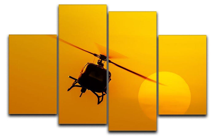 Patrol helicopter flying in sunset 4 Split Panel Canvas