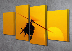 Patrol helicopter flying in sunset 4 Split Panel Canvas  - Canvas Art Rocks - 2