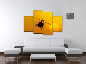 Patrol helicopter flying in sunset 4 Split Panel Canvas  - Canvas Art Rocks - 3