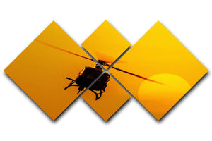 Patrol helicopter flying in sunset 4 Square Multi Panel Canvas  - Canvas Art Rocks - 1