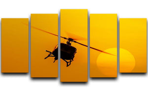 Patrol helicopter flying in sunset 5 Split Panel Canvas  - Canvas Art Rocks - 1