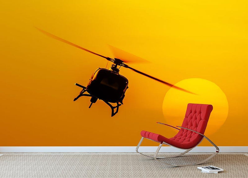 Patrol helicopter flying in sunset Wall Mural Wallpaper - Canvas Art Rocks - 1