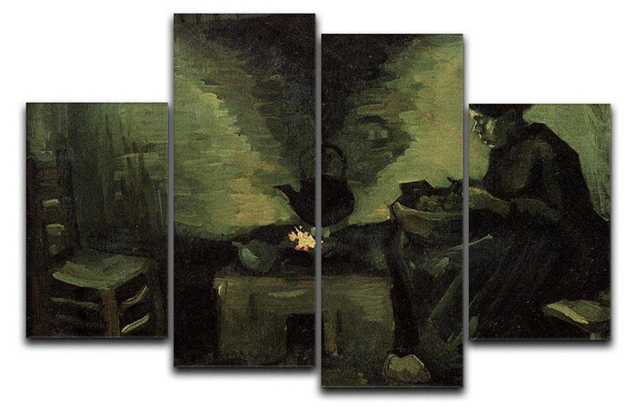 Peasant Woman by the Fireplace by Van Gogh 4 Split Panel Canvas