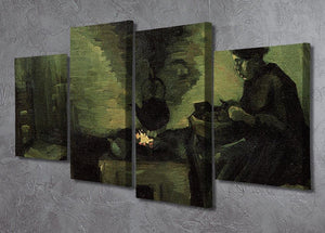 Peasant Woman by the Fireplace by Van Gogh 4 Split Panel Canvas - Canvas Art Rocks - 2