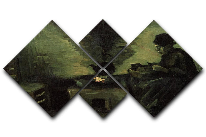 Peasant Woman by the Fireplace by Van Gogh 4 Square Multi Panel Canvas