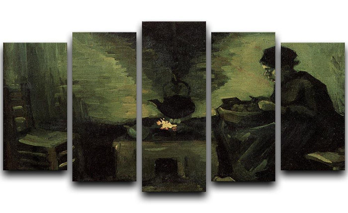 Peasant Woman by the Fireplace by Van Gogh 5 Split Panel Canvas