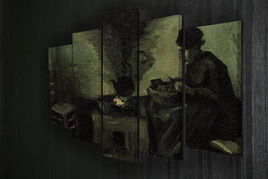 Peasant Woman by the Fireplace by Van Gogh 5 Split Panel Canvas - Canvas Art Rocks - 2