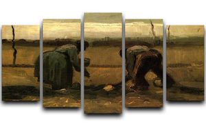 Peasant and Peasant Woman Planting Potatoes by Van Gogh 5 Split Panel Canvas  - Canvas Art Rocks - 1