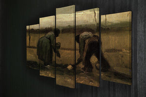 Peasant and Peasant Woman Planting Potatoes by Van Gogh 5 Split Panel Canvas - Canvas Art Rocks - 2