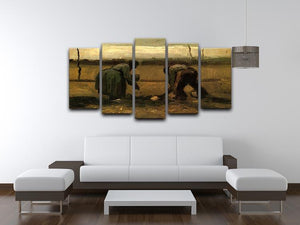 Peasant and Peasant Woman Planting Potatoes by Van Gogh 5 Split Panel Canvas - Canvas Art Rocks - 3