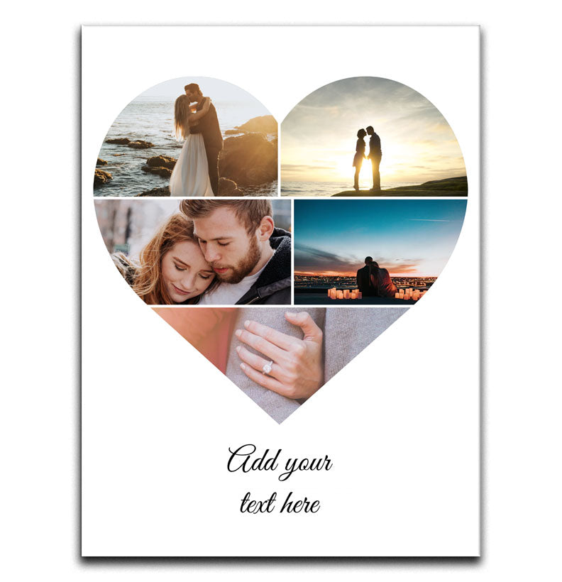 Personalised 5 Love Heart Photo Collage Canvas