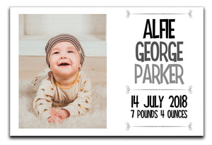 Personalised New Baby 1 Photo Canvas a