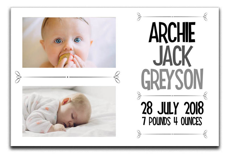 Personalised New Baby 2 Photo Canvas a