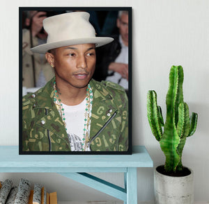Pharrell Williams in a hat Framed Print - Canvas Art Rocks - 2