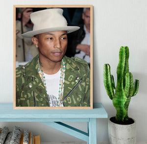Pharrell Williams in a hat Framed Print - Canvas Art Rocks - 4
