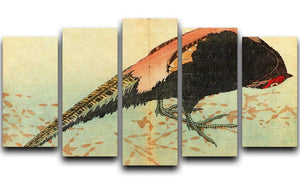 Pheasant on the snow by Hokusai 5 Split Panel Canvas  - Canvas Art Rocks - 1