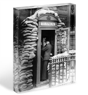 Phone box with sandbags Acrylic Block - Canvas Art Rocks - 1