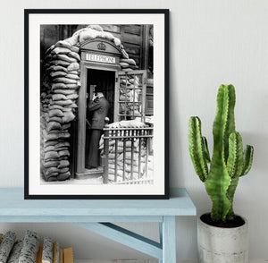 Phone box with sandbags Framed Print - Canvas Art Rocks - 1