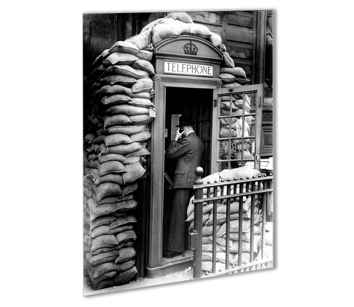Phone box with sandbags Outdoor Metal Print