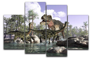 Photorealistic 3 D scene of a Tyrannosaurus Rex 4 Split Panel Canvas  - Canvas Art Rocks - 1