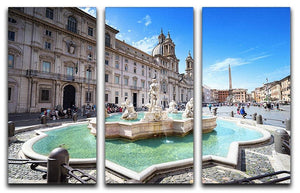 Piazza Navona 3 Split Panel Canvas Print - Canvas Art Rocks - 1