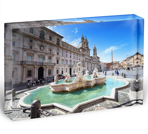 Piazza Navona Acrylic Block - Canvas Art Rocks - 1