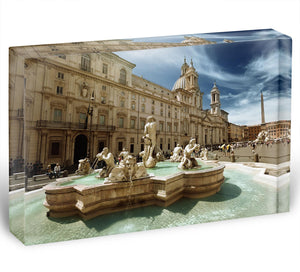 Piazza Navona Rome Acrylic Block - Canvas Art Rocks - 1