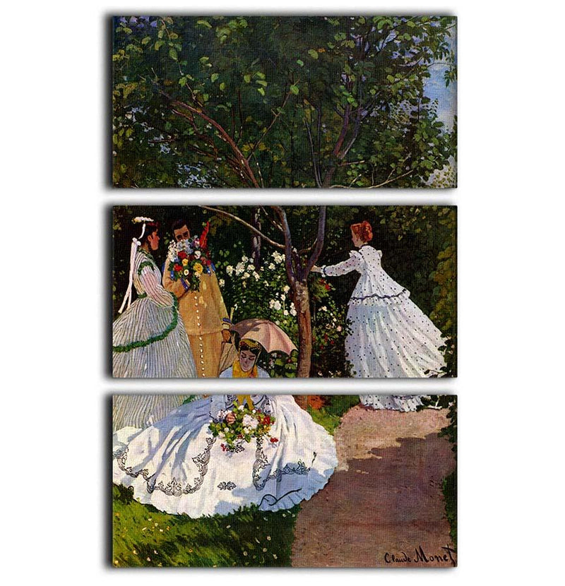 Picnic by Monet 3 Split Panel Canvas Print - Canvas Art Rocks - 1