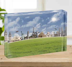Picture of different landmarks Acrylic Block - Canvas Art Rocks - 2