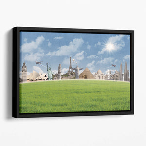 Picture of different landmarks Floating Framed Canvas