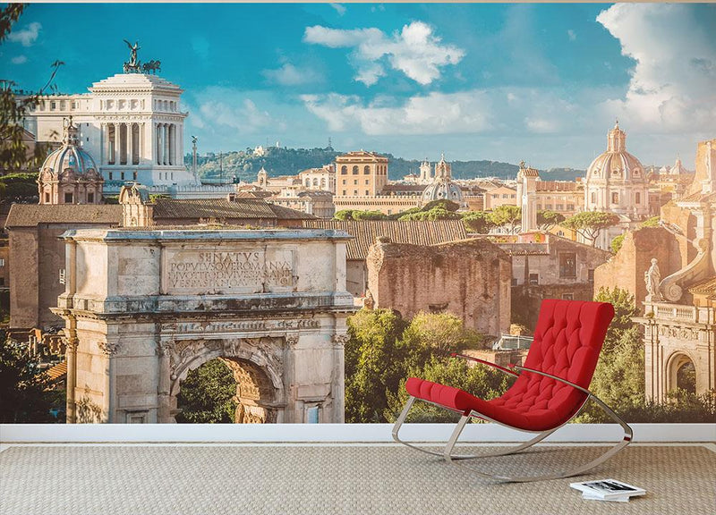 Picturesque View of the Roman Forum Wall Mural Wallpaper - Canvas Art Rocks - 1