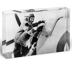 Pilot collecting a Spitfire plane Acrylic Block - Canvas Art Rocks - 1