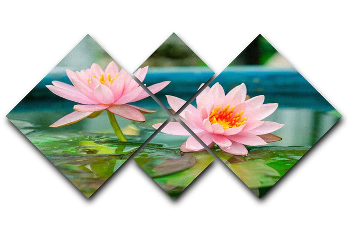 Pink Lotus or water lily in pond 4 Square Multi Panel Canvas