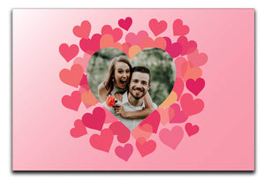 Pink Love Hearts Personalised Photo Canvas a