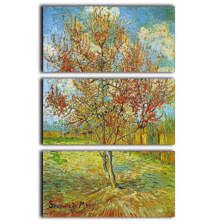 Pink Peach Tree in Blossom Reminiscence of Mauve by Van Gogh 3 Split Panel Canvas Print