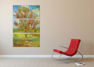 Pink Peach Tree in Blossom Reminiscence of Mauve by Van Gogh 3 Split Panel Canvas Print - Canvas Art Rocks - 2