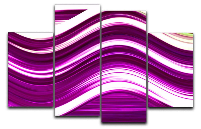 Pink Wave 4 Split Panel Canvas