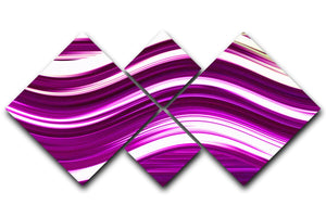Pink Wave 4 Square Multi Panel Canvas - Canvas Art Rocks - 1