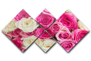 Pink and white fresh rose flowers 4 Square Multi Panel Canvas  - Canvas Art Rocks - 1