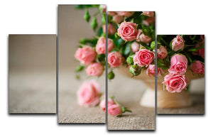 Pink roses on an old table of burlap 4 Split Panel Canvas  - Canvas Art Rocks - 1