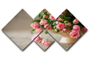 Pink roses on an old table of burlap 4 Square Multi Panel Canvas  - Canvas Art Rocks - 1