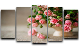 Pink roses on an old table of burlap 5 Split Panel Canvas  - Canvas Art Rocks - 1
