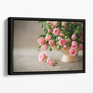 Pink roses on an old table of burlap Floating Framed Canvas