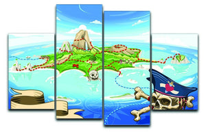 Pirate Cove Island Treasure Map 4 Split Panel Canvas  - Canvas Art Rocks - 1