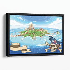 Pirate Cove Island Treasure Map Floating Framed Canvas