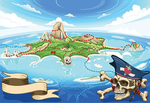 Pirate Cove Island Treasure Map Wall Mural Wallpaper - Canvas Art Rocks - 1