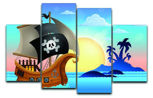 Pirate ship near small island 4 4 Split Panel Canvas  - Canvas Art Rocks - 1